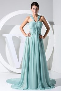 Ruched V-neck Watteau Train Birthday Party Dress with Transparent Waist