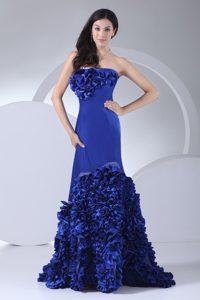 Strapless Royal Blue Wedding Party Dress with Rolling Flowers in Taffeta