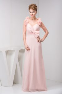 Pretty V-neck Brush Train Pink Prom Party Dress with Bowknot and Flower