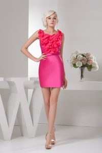 Sexy Hot Pink Scoop Neck Mini-length Holiday Party Dresses with Ruffles