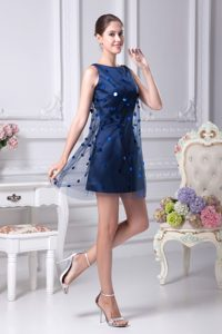 Dark Blue Mini-length Scoop Wedding Party Dresses with Sequins