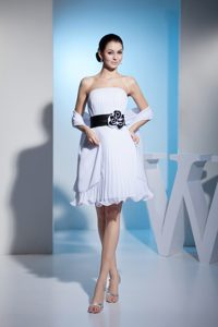 2013 White Strapless Birthday Party Dresses with Black Sashes and Pleats