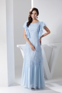 Ruffled Scoop Evening Party Dresses with Short Sleeves to Ankle-length
