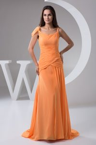 Chiffon Prom Party Dresses with Brush Train and Ruche in Orange