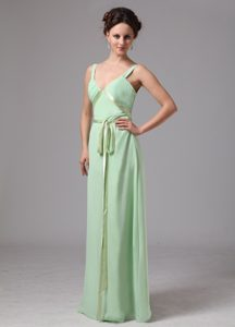 Modest Apple Green V-neck Long Junior Bridesmaid Dress with Sash