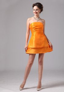 Simple Ruched Orange Strapless Mini-length Maid of Honor Dresses