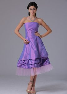 Lavender Strapless A-line Top Bridesmaid Dress in Tea-length with Pick-ups