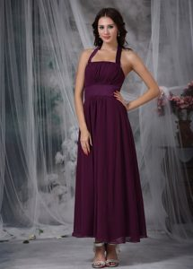 Exquisite Chiffon Halter Ankle-length Junior Bridesmaid Dress in Burgundy
