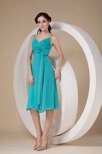 Turquoise Spaghetti Straps Knee-length Dress for Bridesmaid with Bowknot