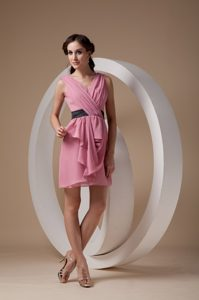 Ruched V-neck Mini-length Rose Pink Maternity Bridesmaid Dress for Less