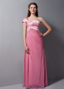 One Shoulder Ruched Bridesmaid Dress for Wedding in Rose Pink with Beads