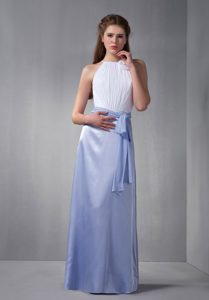 Affordable White and Lilac Scoop Bridesmaid Dress with Sash in Long