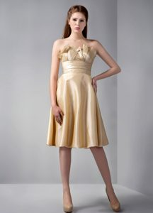 Strapless Ruffled Bridesmaid Dresses with Knee-length in Gold on Promotion