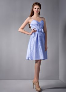 Spaghetti Straps Knee-length Junior Bridesmaid Dress with Ruches in Baby Blue