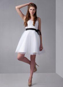 Beautiful White A-line V-neck Bridesmaid Dress for Wedding with Black Sash