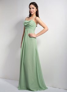 Halter-top Chiffon Bridesmaid Dress for Wedding in Apple Green with Ruches