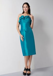 Classy Strapless Junior Bridesmaid Dress in Teal with Pick-ups