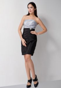 Sliver and Black Bridesmaid Dress with Ruches and Strapless in