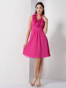 Halter-top Bridesmaid Dress for Wedding with Ruffles and Ruches in Hot Pink