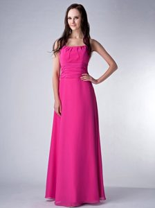 Hot Pink Empire Ruched Bridesmaid Dress with Halter-top Neckline