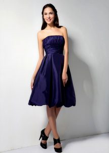 Strapless Bridesmaid Dress for Wedding with Ruches in Eggplant Purple