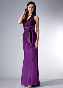 Purple Halter-top Bridesmaid Dress for Wedding with Sash and Ruffles