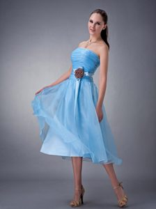 Customize Ruching Junior Bridesmaid Dresses in Baby Blue with Handle Flower