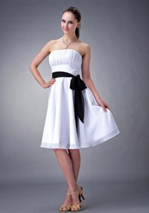 White A-line Strapless Bridesmaid Dress with Ruches and Black Sash