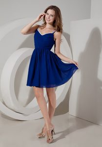 2013 Mini-length Ruched Maternity Bridesmaid Dress in Royal Blue with Straps
