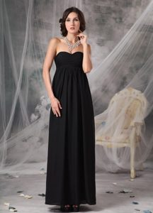 Black Ankle-length Maternity Bridesmaid Dress with Sweetheart