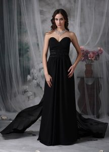 Sweetheart Bridesmaid Dress for Wedding with Ruches and Beadings in Black