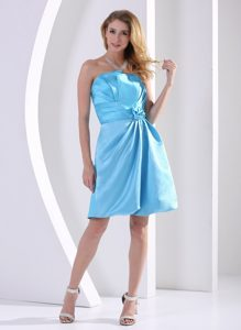 Aqua Blue Short Maternity Bridesmaid Dress in with Hand Made Flower
