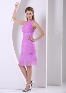 Beading and Ruching Junior Bridesmaid Dresses with One Shoulder in Lavender