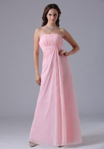 Pretty Baby Pink Ruched Maternity Bridesmaid Dress with Strapless
