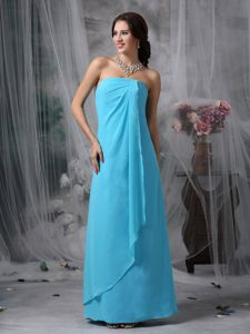 Strapless Bridesmaid Dress for Church Wedding in Baby Blue with Floor-length