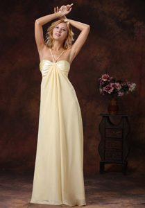 Glitz Straps Long Chiffon Bridesmaid Dress with Ruches in Light Yellow