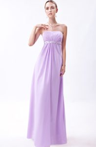 Strapless Long Chiffon Junior Bridesmaid Dresses with Sash in Lavender