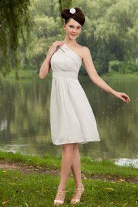 Grey Empire Knee-length Junior Bridesmaid Dress with One Shoulder