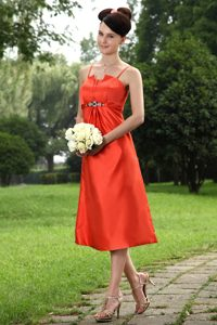 Tea-length Dresses for Bridesmaid in Orange with Straps and Beadings