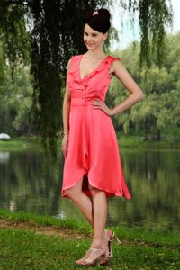 Stylish Watermelon V-neck Maternity Bridesmaid Dress with Ruches in Taffeta