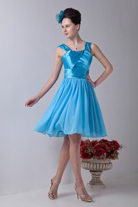 Straps Aqua Blue Bridesmaid Dresses with Knee-length in and Chiffon