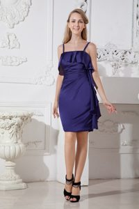Purple Ruching Maternity Bridesmaid Dress with Spaghetti Straps on Promotion