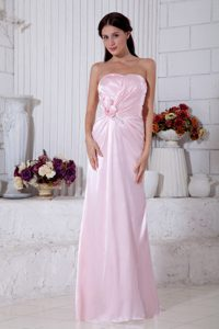 Strapless Beading Bridesmaid Dress for Wedding in Pink with Handle Flowers