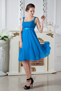 Straps Knee-length Chiffon Maid of Honor Dress with Ruches in Blue for 2013