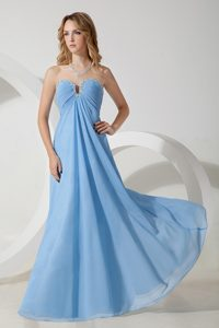 2014 Sweetheart Beading Maternity Bridesmaid Dress with Ruches in Baby Blue