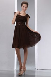 Square Ruched Chiffon Maid of Honor Dresses with Beadings and Cap Sleeves