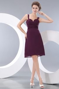 Popular A-line Straps Ruching Bridesmaid Dress for Wedding with Knee-length