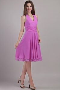 Halter Top Knee-length Chiffon Dress for Bridesmaid with Ruches in Lavender