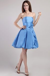 Aqua Blue A-line Short Maternity Bridesmaid Dresses in with Bowknots