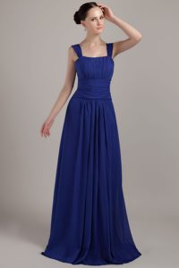Beauty Square Brush Train Chiffon Bridesmaid Dress in Royal Blue with Straps